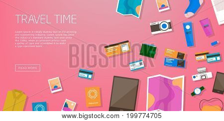 Travel time. Horizontal advertising banner on theme travel, vacation. Preparing for journey. Pink backdrop with things necessary traveler. Top view. Colorful vector background in flat style.