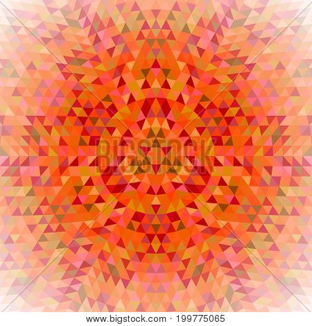 Round geometric triangle kaleidoscope mandala background - symmetrical vector pattern design from colored triangles