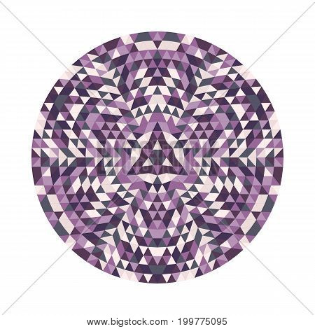 Round geometrical triangle kaleidoscopic mandala design symbol - symmetric vector pattern digital art from colorful triangles