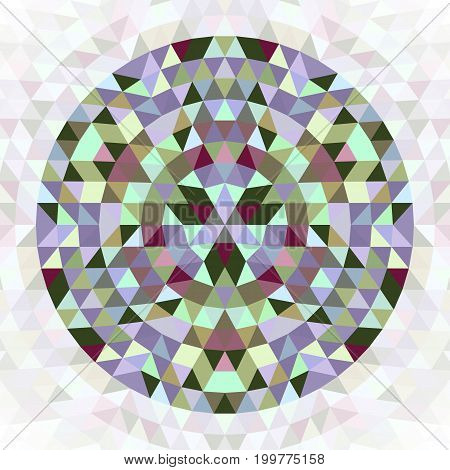 Round geometrical triangle kaleidoscope mandala design symbol - symmetrical vector pattern digital art from colorful triangles
