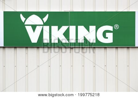 Saint Nazaire en Royans, France - June 23, 2017: Viking logo on a wall. Viking produces and sells lawn mowers, lawn tractors, garden shredders and tillers