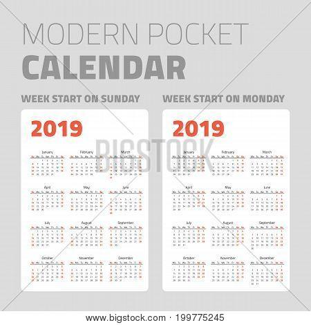 Modern pocket calendar on white background design set 2019