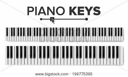 Piano Keyboard Vector. Realistic Isolated Illustration. Musical Piano Key Top View. Keyboard Pad
