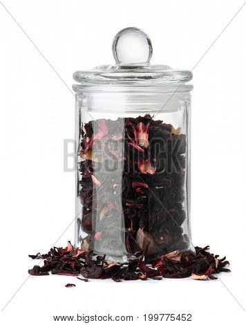 Glass jar with herbal tea isolated on white