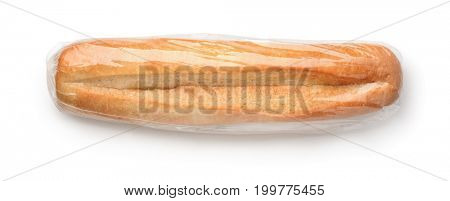 Top view of fresh bun in plastic bag isolated on white