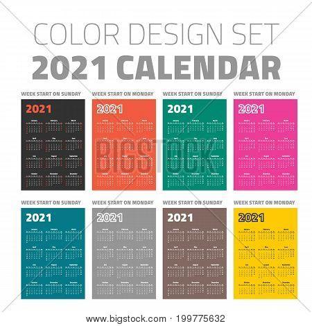 pocket calendar set 2021 on different color backgrounds
