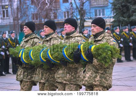 Zhytomyr, Ukraine - February 26, 2016: Military military parade, rows of soldiers at midday