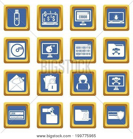 Criminal activity icons set in blue color isolated vector illustration for web and any design
