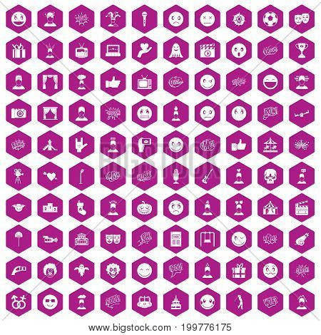 100 emotion icons set in violet hexagon isolated vector illustration