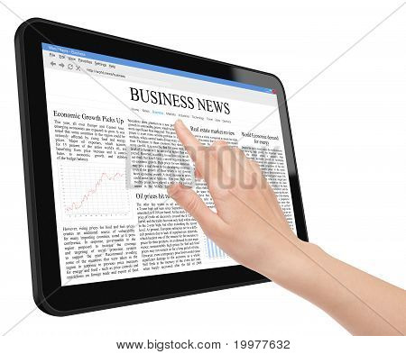 Hand touch screen on tablet pc with business news. Include clipping path for tablet, screen and hand. Isolated on white. XXXL size, ultra quality. poster