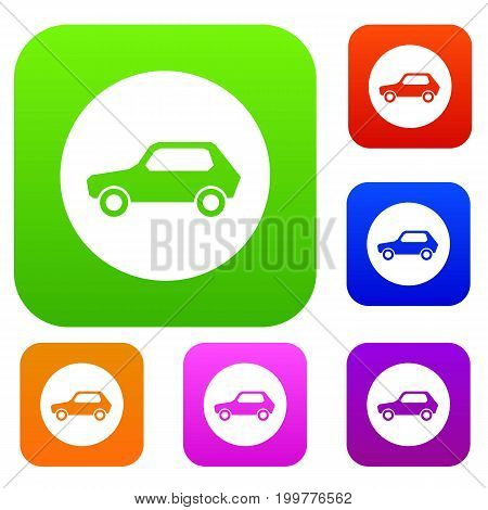 Only motor vehicles allowed road sign set icon in different colors isolated vector illustration. Premium collection