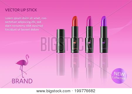 Brand. Lip stick in different colors with flamingo, logo and text.