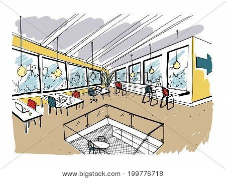 Hand drawn coworking cluster. Modern office interior, open space. workspace with computers, laptops, lighting and place for rest. Colorful horizontal vector sketch illustration