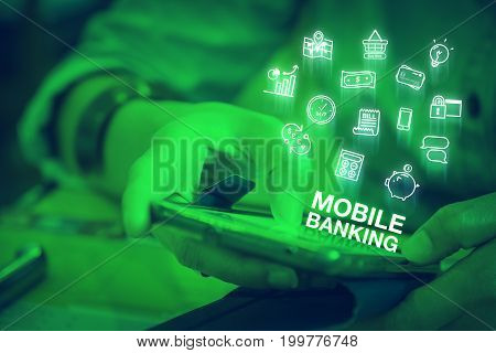 Close Up Woman Using Mobile Phone With Smart Home Control Word And Icon Features, Digital Lifestyle