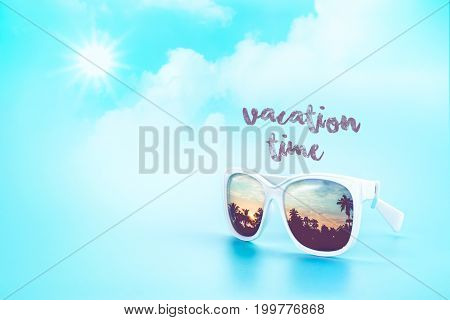 White Sunglasses Reflection Sunset At Palm Tree Landscape Scene With Vacation Time Word At Light Blu