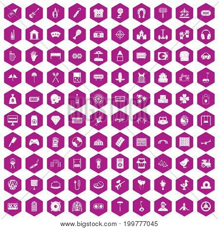 100 entertainment icons set in violet hexagon isolated vector illustration