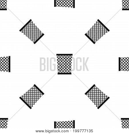 Wastepaper basket pattern repeat seamless in black color for any design. Vector geometric illustration