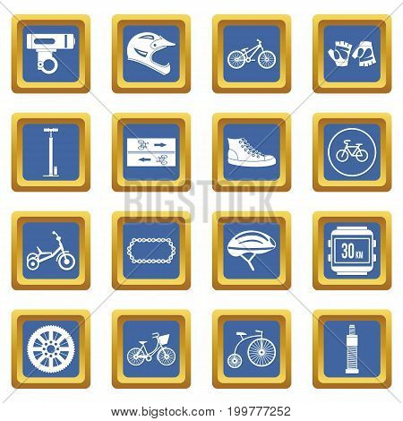 Biking icons set in blue color isolated vector illustration for web and any design