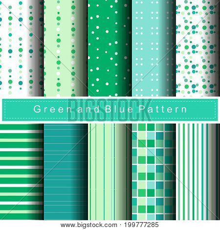 10 green variety pattern abstract background vector