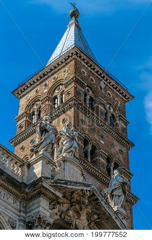 Detail of tower of the Church (Papal basilica) Santa Maria Maggiore the largest basilica in Rome Italy.
