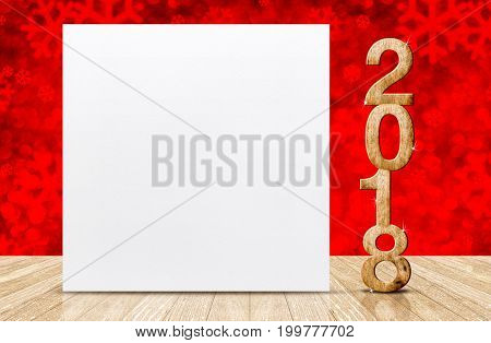 Happy new year 2018 with blank white greeting card in perspective room at sparkling red snowflakes bokeh wall and wooden plank floorleave space for display of design.3d rendering