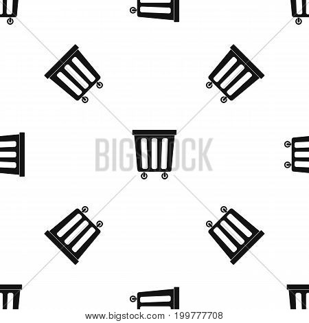 Outdoor plastic trash can pattern repeat seamless in black color for any design. Vector geometric illustration