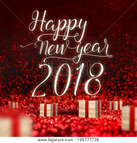 Happy New Year 2018 greeting card and wood present box at red sparkling glitter perspective backgroundHoliday concept(3d rendering).