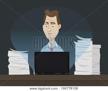 Sad office worker sitting behind his table and working on his laptop at night with a lot of papers and documents around - concept of stress and frustration - vector cartoon