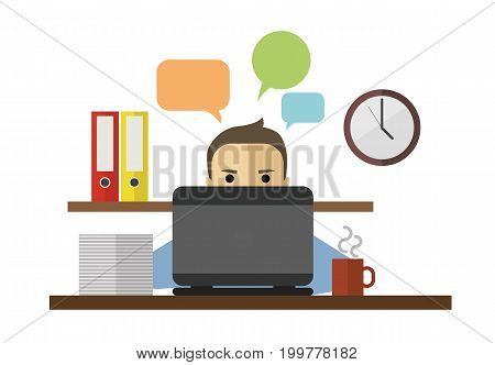 Flat vector illustration of man sitting behing his computer and working