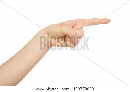 Woman's hand pointing on virtual object with index finger, close-up, cutout, copy space, isolated on white background.