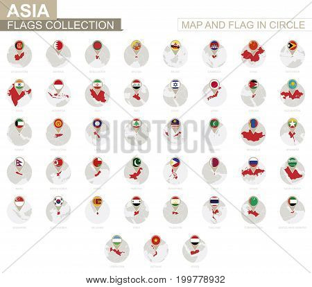 Map and Flag in Circle Asia Countries Collection. Alphabetically sorted flags and maps. Vector Illustration.