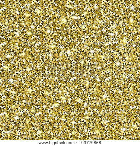 Gold Glitter Background. Golden texture with sparkles. Square seamless pattern saved in swatches. Glittering vector. Luxury shining decoration for greeting, holiday design elements. Digitally created.