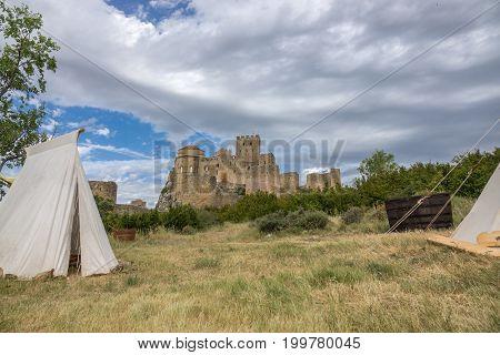 Castle of Loarre and surroundings, Hoya de Huesca Loarre Aragon Huesca Spain, settlement on a Medieval reenactment demonstration and recreation