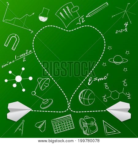 Paper Plane And School Doodle Vector Background. Graphic Element For Documents, Templates, Posters,