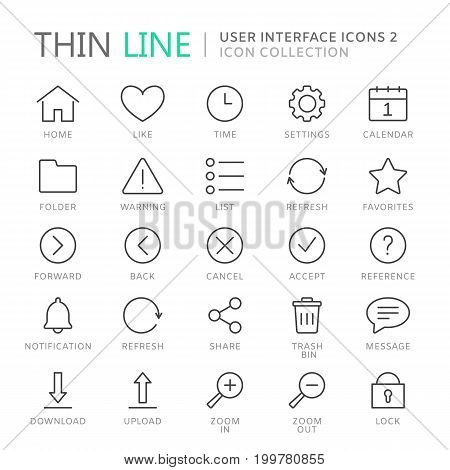 Collection of user interface thin line icons. Vector eps10