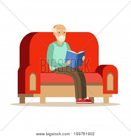 Grey senior man sitting on the sofa and reading a book colorful character vector Illustration isolated on a white background