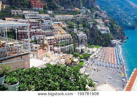 beach of Positano - famous old italian resort, Italy