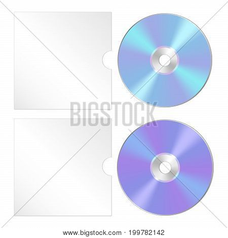Cd, dvd isolated realistic icon set. Compact disk template with cover.