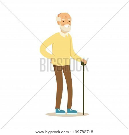 Grey smiling senior man standing with cane colorful character vector Illustration isolated on a white background