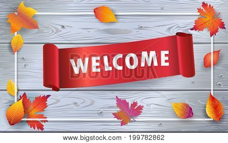 Welcome lettering poster with red ribbon banner on grey wood background, realistic fall maple tree leaves frame. Back to school concept vector backdrop 3D template.