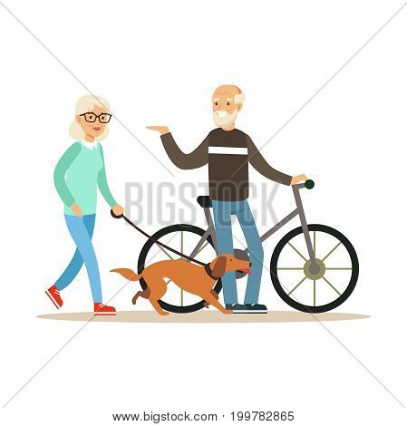 Old man standing next to a bike, senior woman walking with dog, healthy active lifestyle colorful characters vector Illustration isolated on a white background