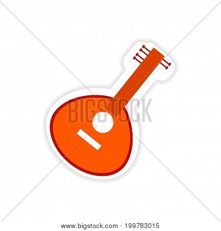 paper sticker Indian musical instrument on white background