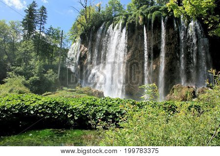 lovely waterfall in the national park Plitvice, Croatia