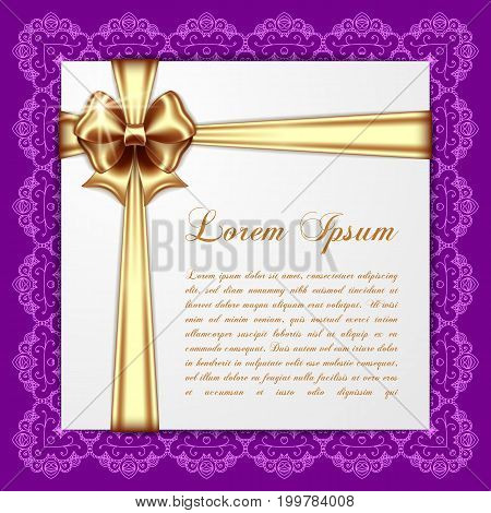 Retro background with silk bow and lace border. Greeting card or invitation template. Vector Illustration