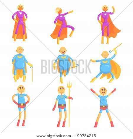 Funny elderly men in superman costume, old superhero in action cartoon characters set of vector Illustrations isolated on white background