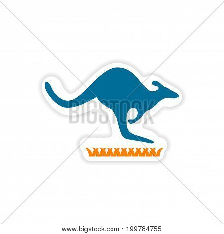 paper sticker Australian kangaroo on white background