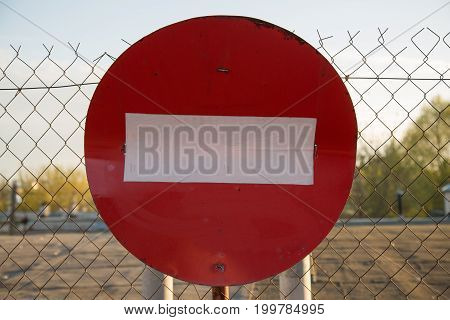 Road stop caution sign red abstract close up