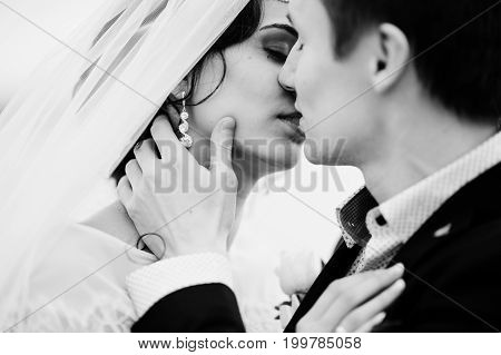 Close-up Photo Of A Kissing Wedding Couple On The Lakeside. Black And White Photo.