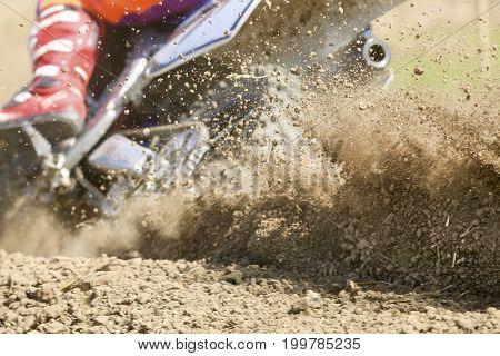 Mud debris splash from a motocross race