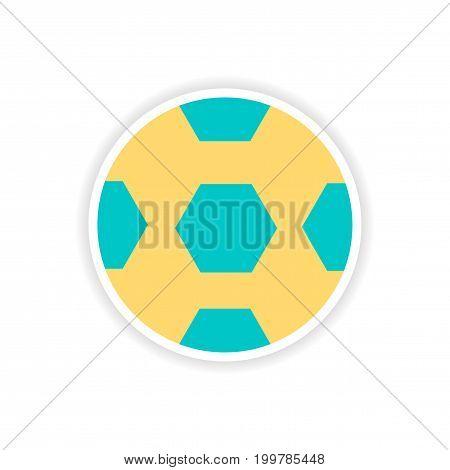 paper sticker Brazilian football on white background